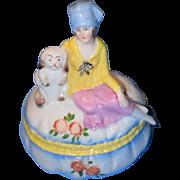 Old Doll China Head Lady with Dog on Powder Jar Porcelain Fancy Lady