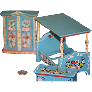 Vintage Doll Miniature Cottage Dollhouse Furniture Painted Bed Wardrobe Trunk Chest