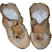 Antique Doll Shoes WONDERFUL Beaded with Pom Pom's Leather Bottom For Bisque Doll