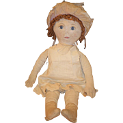 Old Doll Oil Cloth Rag Doll Folk Art Painted Features Old Clothes