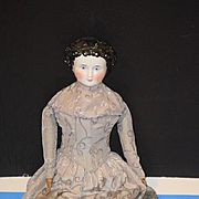 Antique Doll Conte & Boehm China Head Doll Molded Bow Old Cloth Body WONDERFUL Dressed