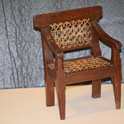 Old Doll Chair Wood Cane Bottom  Back Chair Wonderful for China Head or Early Cloth Doll
