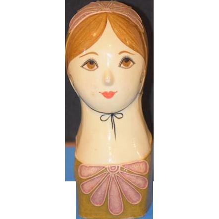 Doll Papier Mache Head Bust Signed Capistrano Paper Mache Gemma Taccogna