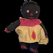Old Doll Black Cloth Doll Stockinette Rag Doll