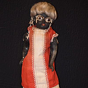 Antique Doll Black Papier Mache Glass Bulging Eyes Unusual Look Folk Art Primitive