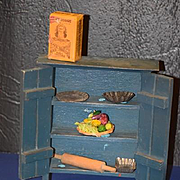 Old Doll Miniature Cupboard Cabinet Wood Painted W/ Miniatures Kitchen Items Tin Pans Fruit Dollhouse