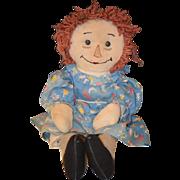 Old Doll Raggedy Ann Cloth Rag Doll W/ Cow Jumped Over the Moon Dress Cute