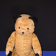 Old Teddy Bear Jointed Unusual Black Ears Golden Brown SMILEY