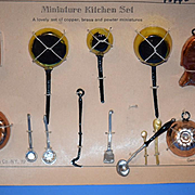Old Doll Miniature Kitchen German Pots & Pans On Original Paper Puppen- Service AND Miniature Kitchen Set Dollhouse