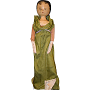Antique Doll Wood Pegged Jointed Carved Doll Folk Art