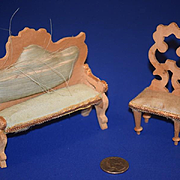 Old Doll Miniature Sofa & Chair Settee Fancy Dollhouse Wood Silk