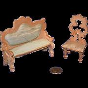 Old Doll Miniature Sofa & Chair Settee Fancy Dollhouse Wood Silk