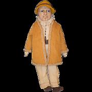Old Doll Wax Character Man Doll Glass Eyes Unusual