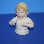 Old Doll Miniature China Head Half Doll Child Adorable German