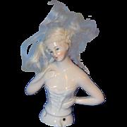 Old Doll China Head Half Doll W/ Wig & Fancy Corset