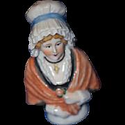 Wonderful Old China Head Half Doll Bonnet Shawl Cross
