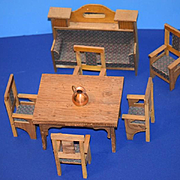 Old Doll Miniature Dollhouse Furniture Wood Table Chairs Sofa Extending Table