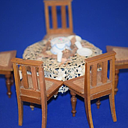 Vintage Doll Miniature Doll Dollhouse Cane Bottom Chairs and Miniature Table w/ Accessories