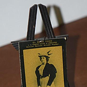 Old Doll Miniature Easel W/ Picture of Lady LA Mascota Wood
