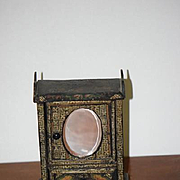 Old Doll Miniature Dollhouse Wood Painted Cabinet Beveled Mirror Gorgeous