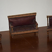 Antique Doll Miniature Furniture Set Sofa Chairs Leather & Wood Dollhouse