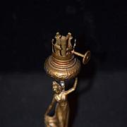 Old Doll Miniature Art Nouveau Lady Lamp Dollhouse Metal Oil Lamp Figural