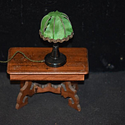 Old Doll Miniature Lamp Dollhouse Fancy Silk Shade Wood Table Lamp