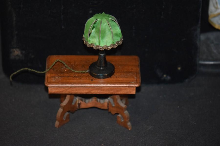 Old Doll Miniature Lamp Dollhouse Fancy Silk Shade Wood Table Lamp ...