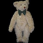 Teddy Bear Steiff Huge Mohair Jointed Bow Tie White Bear