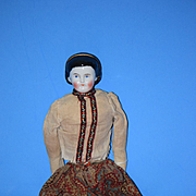 Antique Doll China Head Alice W/ Fancy Snood Dressed with Head Band