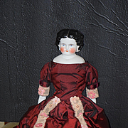 Antique Doll China Head Center Part Big Rosy Cheeks Smiling