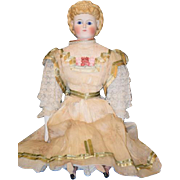 Antique Doll Gorgeous Parian China Head Glass Eyes Fancy Hair Style Pierced Ears Old Fab Clothes Exposed Ears