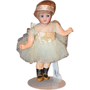 Antique Doll Bisque Miniature Dollhouse Ballerina Glass Eyes WONDERFUL