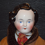 Antique Doll China Head Boy Large With Sculptured Hair Unusual Hair Style CONTE and BOEHME