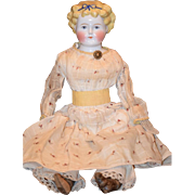 Antique Doll China Head Fancy Hair Style with Molded Bow
