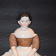 Antique Doll China Head Large W/ Exposed Ears Fancy Adelina Patti