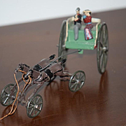 Old Doll or Child Toy Cast Iron Horse and Buggy Set Miniature Dollhouse W/ People Carriage