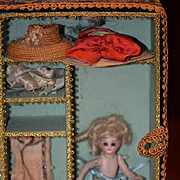 Antique Doll Miniature Mignonette Doll W/ Trousseau Clothes and Hats Swivel Neck Wonderful Dollhouse