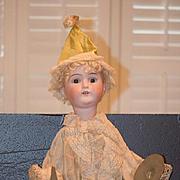 Antique Doll Bisque Mechanical Cymbal Clapper Wood Body Original Clothes Big Doll Wonderful