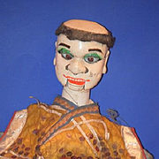 Antique Doll Oriental Soldier Puppet W/ Working Eyes and Mouth and Ornate Costume