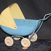Old Doll Miniature Tin Buggy Carriage or Pram with Moving Top Adorable