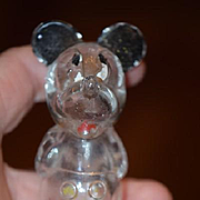 Old Doll Mickey Mouse Walt Disney Glass Figural Bottle Wonderful Perfume Bottle