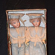 Antique Doll Set Pair of German Bisque Dolls in Sailor Outfits with Provenance Miniature Dollhouse