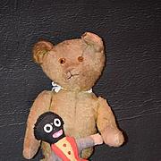 Old Teddy Bear W/ Golliwog Black Cloth Doll Adorable