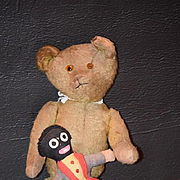 Old Teddy Bear W/ Golliwog Black Cloth Doll Adorable