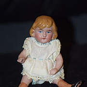 Antique Doll Miniature All Bisque W/ Stockings and Double Strap Shoes Dollhouse