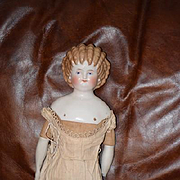 Antique Doll China Head Cafe Au Lait Spill Curl
