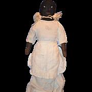 Old Doll Cloth Rag Doll Black Button Glass Eyes Folk Art