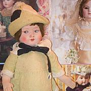 Old Doll Cloth Felt Doll Wonderful Original Clothing Hat