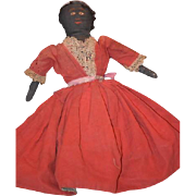 Old Doll Cloth Topsy Turvy Black Cloth Doll White Doll Sewn Features